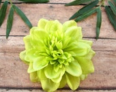 Lime Dahlia Hair Clip, Green Flower Hair Clip, Lime Dahlia