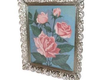 Retro Paint-By-Number Roses In Vintage Filigree Metal Frame
