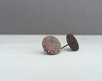 pizza earrings | stud earrings | pizza party earrings | etched copper studs | jewelry for her