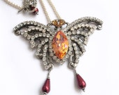 Swarovski crystal Butterfly necklace Bridal necklace rhinestone wedding jewelry wedding necklace pearls silver necklace beaded red yellow