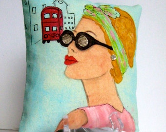 LONDON LADIES EMMA,  hand painted pillow, London, patina, sunglasses, fashionista pillow, gift for woman, London Lady,  scarf, quote