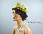 1960s Floral Toque Vintage Garden Party Hat Green Velvet & Tulle