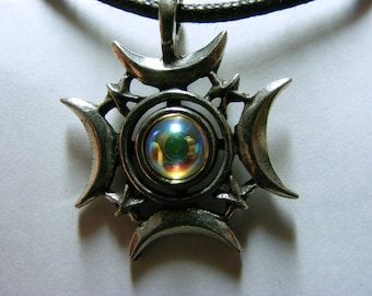 WICCA Pagan Celestial Mother Earth - Pewter PENDANT / AMULET with black necklace cord