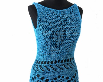 SUBLIME- hand knitting - Vest tank sweater - in turquoise