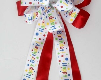 Happy Birthday bow for wreaths, Birthday decorations, Party decor, gift bow, red bow