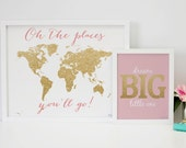 World Map Nursery Decor Poster Print, World Map and Dream Big Home Decor Wall Art Print, Pink Gold Nursery Decor Baby Shower Gift