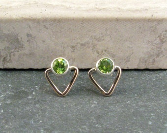 Small Peridot Stud Earrings - Triangle Stud Earrings in Bronze and Silver - August Birthstone Gift for Her - Peridot Birthstone Jewelry