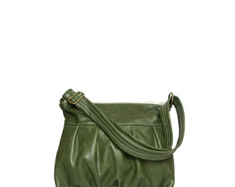 Ready to Ship - Ruche Mini, Market Bag, Pleated Hobo, Ruche Bag, Sage Green Leather Purse, Pleated Market Bag, Zipper Top Hobo