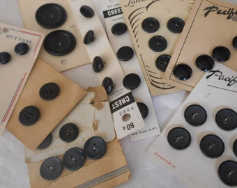 Lot Sets of VINTAGE Carded Black Plastic Craft Sewing Buttons L106