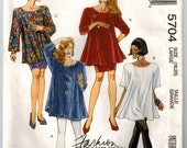 90's Trapeze Tunic Skirt Leggings Vintage Sewing Pattern Bust 40 42 SZ XL Very Loose Fit Top Bell Sleeve Mini Pegged Skirt Pull On Leggings