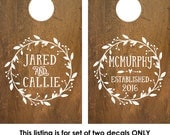 Cornhole Decal | Corn Hole Decal | Monogram Decal | Corn Hole Board | Corn hole decal wedding | rustic wedding decor