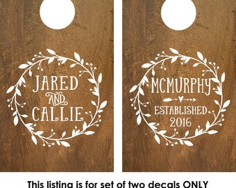 Cornhole Boards Decals | Custom Cornhole Boards | Decals for cornhole boards | Cornhole board designs | rustic wedding