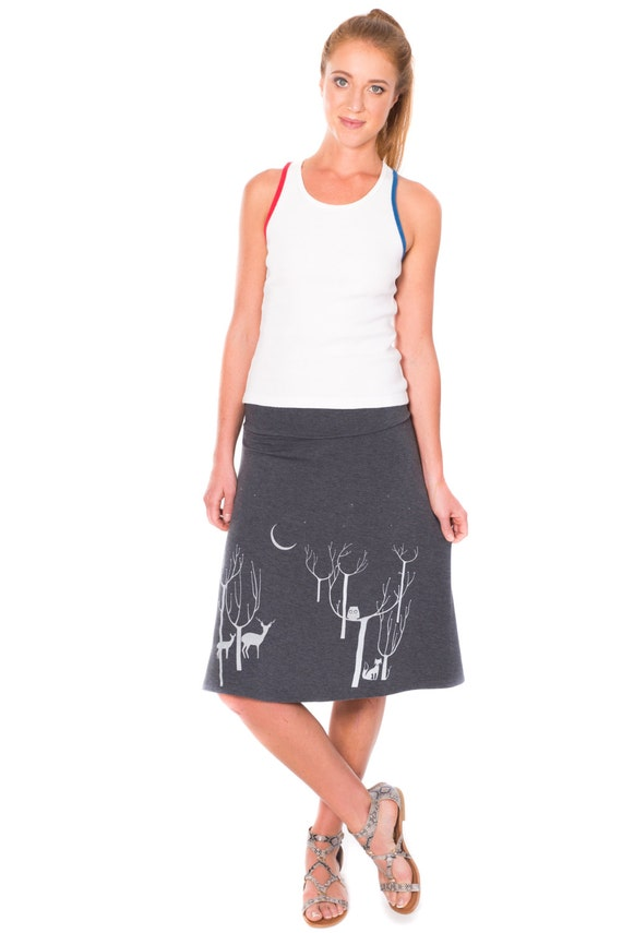 Mothers day gift, Grey midi Pull on knit skirt, Graphic skirt, Elastic fold-over waistband skirts, Stretch skirt - Woodland animals