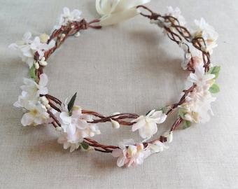 floral crown headband, floral headband wedding, floral head wreath, wedding headpiece, bridal crown headband, ivory headband floral, #88