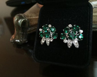Vintage Signed 1940's Eisenberg Emerald Green and Clear Swarovski Crystal Clip On Earrings