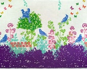 Echino by Etsuko Furuya - Border Cotton Linen Fabric - Perched Birds Wish EF700 Purple, select a length