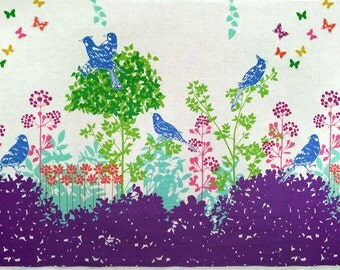 Echino by Etsuko Furuya - Border Cotton Linen Fabric - Perched Birds Wish EF700 Purple, select a length