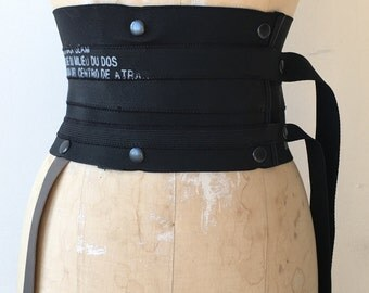 022 black elastic printed belt leather strap