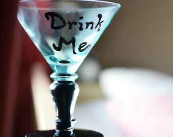 Alice in Wonderland Drink Me Martini Glass | MarTEAni | Mad Tea Party | Housewares | Cocktail | Kitchen | Dining | Beverage | Blue Black