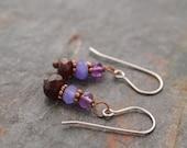 Amethyst, Lavender Jade and Garnet Earrings