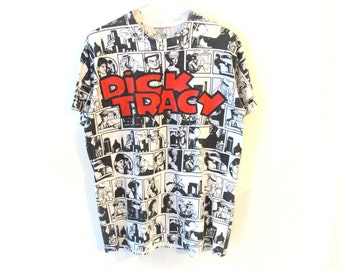 1990 Dick Tracy Black and White Comic Cartoon T-Shirt