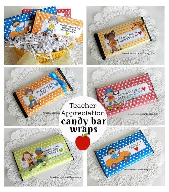 10 Teacher Appreciation Candy Bar Wraps / Hershey Candy Bar