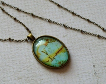 Rust and Teal Glass Necklace- Oval Pendant Set in Bronze Plated Tray- Comes with Chain- Turquoise Rock Inspired- Unique, OOAK gift