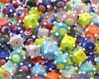 13mm Opaque Color Mix with Dots Handmade Lampwork Glass Beads - Qty 10 (AS48)