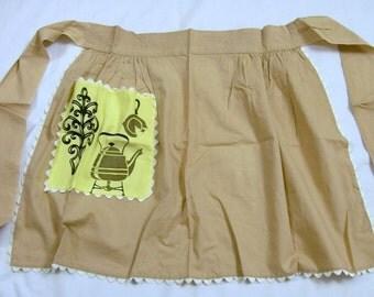Vintage Apron, Brown Apron, Retro Apron, Half Apron, Apron with a Pocket, Vintage Kitchen, apron, old fashion apron