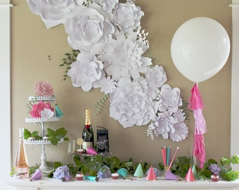 Paper Flower Backdrop. PhotoBooth. Photo Booth - ASSEMBLED Flowers. Wedding Photo Backdrop. Baby Shower Decor