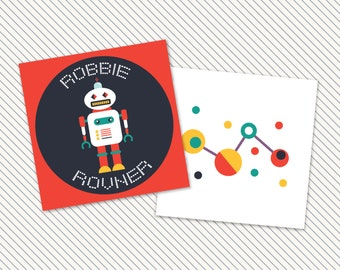 Set of 25 Personalized Robot Enclosure Cards Contact Cards Calling Cards Labels or Gift Tags