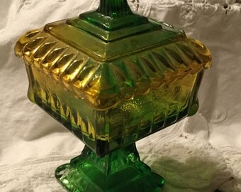 REDUCED - Green Yellow Wedding Compote by Jeannette Glass Company circa 1930's 1940's