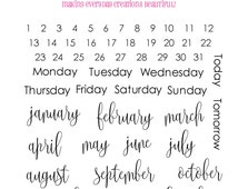 "Planner Stamps Clear Stamp Set ""Someday Plans""  Month and Days Stamps - Perfect for your planner, Filofax, Erin Condren, lists, journals etc"
