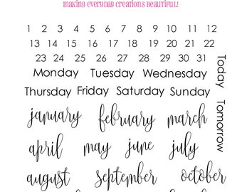 """Planner Stamps Clear Stamp Set """"Someday Plans""""  Month and Days Stamps - Perfect for your planner, Filofax, Erin Condren, lists, journals etc"""