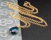 London blue topaz necklace, blue topaz pendant, December birthstone, handmade wire wrapped jewelry, ocean blue gem - Mermaid's Tear