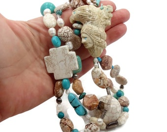Turquoise Necklace, Eagle, Buffalo, Native American, Vintage Necklace, Sterling Silver, Howlite, Jasper, Big Statement, Mixed Stones, Cross