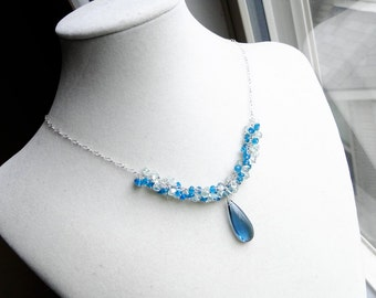London Blue Topaz Necklace with Aquamarine, Peacock Apatite, Sterling Silver - Ombre Ocean by CircesHouse on Etsy