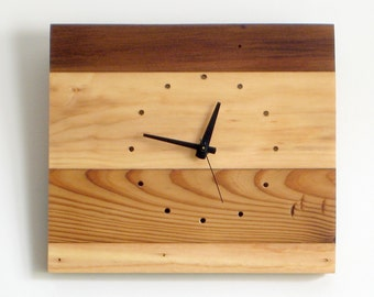WOOD WALL CLOCK> Reclaimed Fir Blackwood Stripes Limited Edition—Father's Day Gift Wedding Housewarming—Horloge Bois/Reloj Madera reciclada
