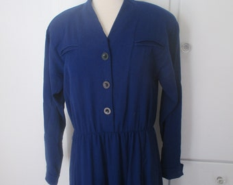 Navy, Indigo Blue, Button Down Dress, Pockets, Power Dress, Suit Dress, Button Down, V Neck Dress, Size 12, 14, 16, L, XL, Large Curvy