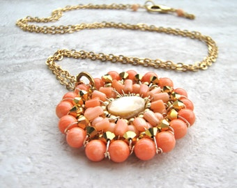 Long Pendant Necklace in Angel Skin Coral & Gold -Chic Pendant with Peach Coral (also in Turquoise, Red coral) Wired by Sharona Nissan 4172