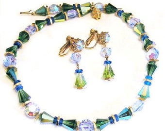 Coro Blue Green Glass Necklace Clip Earring Set
