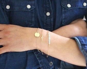 Personalised bracelet set - 3 dainty gold chain stacking bracelets - save 15%