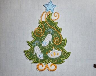 Free Shipping Ready to Ship  Christmas Princess  Tree Machine Embroidery   Iron on applique