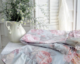 Pillow Shams, Set of Two, Roses, Pillow Cases, Shabby Roses, Cottage Charm, Shabby French, Frilled, by mailordervintage on etsy