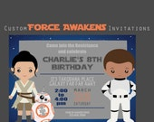 Custom Force Awakens Party Invitiation, Star Wars, Force Awakens, 5x7 Birthday Invitations