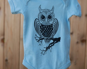OWL. Baby Onesie.  Art by MATLEY. Infant Bodysuit. Baby Shower. New born gift registry. Baby tees. baby jumper. Bird.