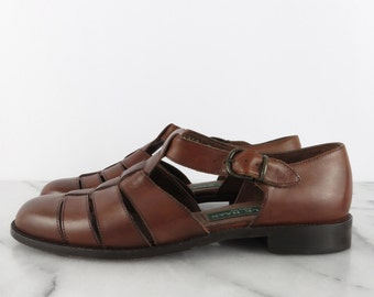 COLE HAAN T Strap Cage Cut Out Sandals Brown Low Heel Womens Shoes Ankle Strap ITALY sz 7.5