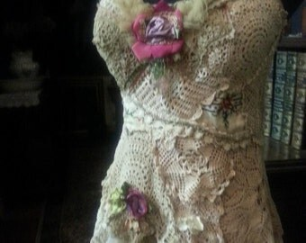 Gorgeous OOAK Top in Genuine Antique & Vintage textiles Size S