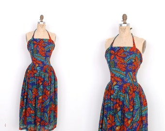 Vintage 1980s Dress / 80s Phool Halter Floral Print Sundress / Blue and Orange (M L)