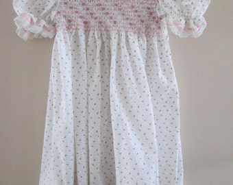 Girl's Dress - Hand-Made and Hand-Smocked, Yoke Style, Size 4